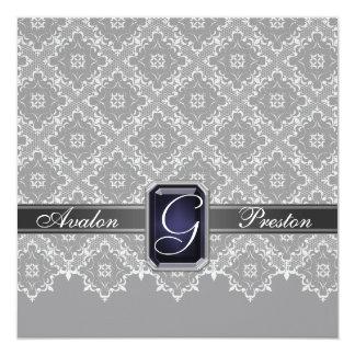 Faire-part de mariage orné de bijoux gris de ruban