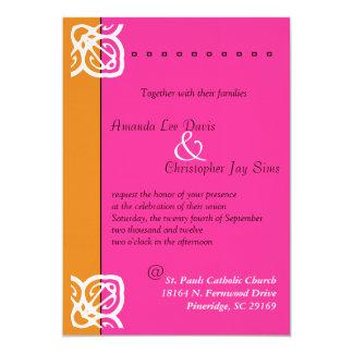 Faire-part de mariage ornemental orange et rose