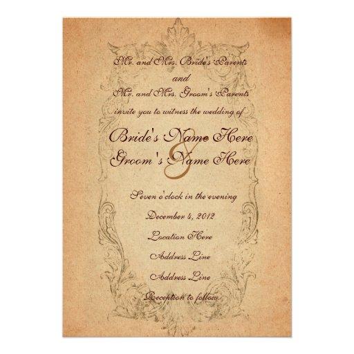 faire part de mariage ovale antique de parchemin carton d 39 invitation 12 7. Black Bedroom Furniture Sets. Home Design Ideas