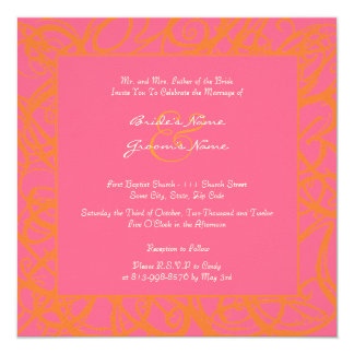 Faire-part de mariage peu précis orange et rose de