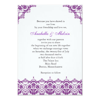 Faire-part de mariage pourpre de dentelle carton d'invitation  12,7 cm x 17,78 cm