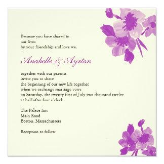 Faire-part de mariage pourpre de fleur carton d'invitation  13,33 cm