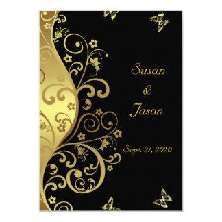 Faire-part de mariage--Remous d'or et 5x7 noir