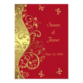 Faire-part de mariage--Remous d'or et 5x7 rouge