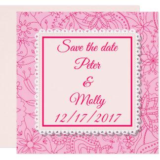 Faire-part de mariage rose avec des fleurs