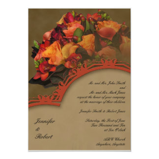 Faire-part de mariage rose de bouquet de chute
