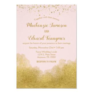 Faire-part de mariage rose de confettis d'or