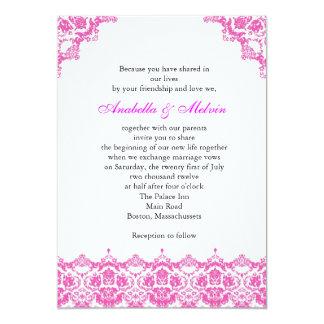 Faire-part de mariage rose de dentelle carton d'invitation  12,7 cm x 17,78 cm