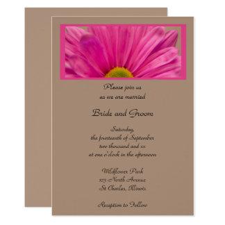 Faire-part de mariage rose de fleur de marguerite