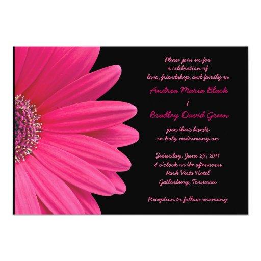 Faire-part de mariage rose de Gerbera - rose et