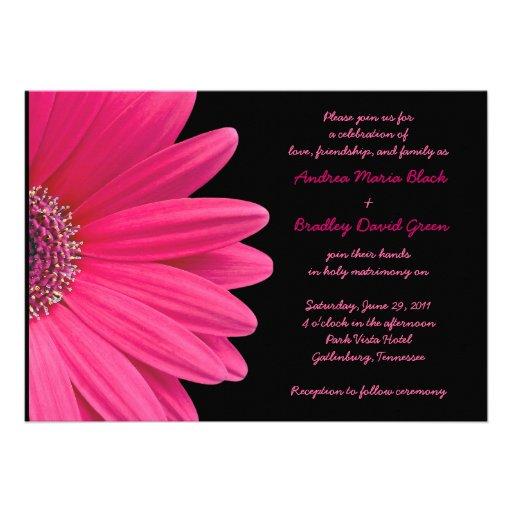 Faire-part de mariage rose de Gerbera - rose et no