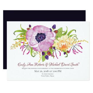 Faire-part de mariage rose de jardin de pavot