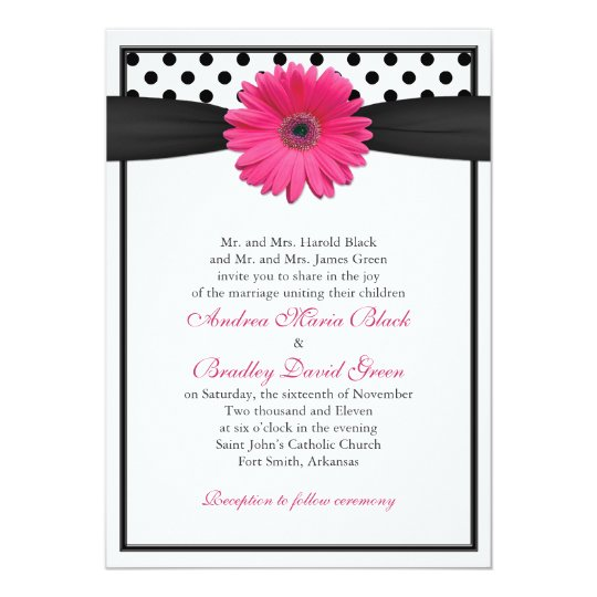 Faire-part de mariage rose de point de polka de