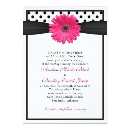Faire-part de mariage rose de point de polka de carton d'invitation  12,7 cm x 17,78 cm
