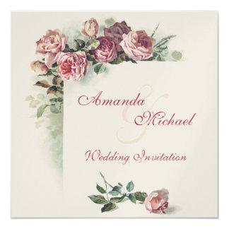 Faire-part de mariage rose de roses carton d'invitation  13,33 cm
