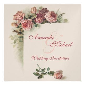 Faire-part de mariage rose de roses