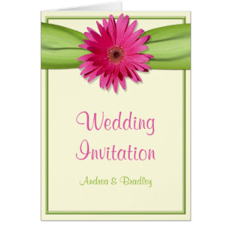 Faire-part de mariage rose de ruban de vert de