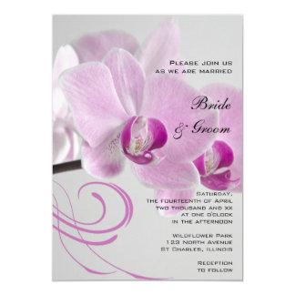 Faire-part de mariage rose d'élégance d'orchidée