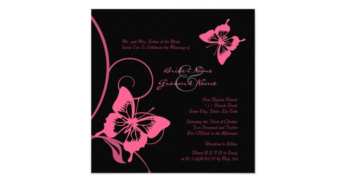 faire part de mariage rose et noir de papillon. Black Bedroom Furniture Sets. Home Design Ideas