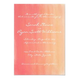 Faire-part de mariage rose et orange d'aquarelle