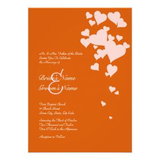 Faire-part de mariage rose et orange de coeurs