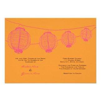Faire-part de mariage rose et orange de lanternes