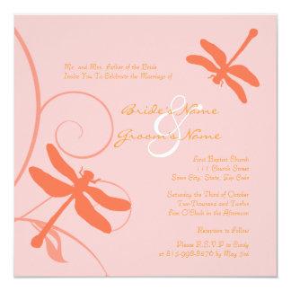 Faire-part de mariage rose et orange de libellule