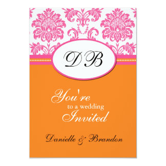 Faire-part de mariage rose et orange de monogramme