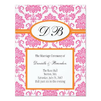 Faire-part de mariage rose et orange de monogramme carton d'invitation 10,79 cm x 13,97 cm