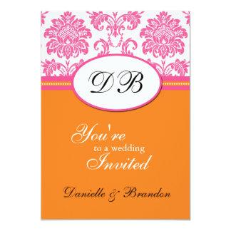 Faire-part de mariage rose et orange de monogramme carton d'invitation  12,7 cm x 17,78 cm