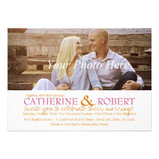 Faire-part de mariage rose et orange de photo