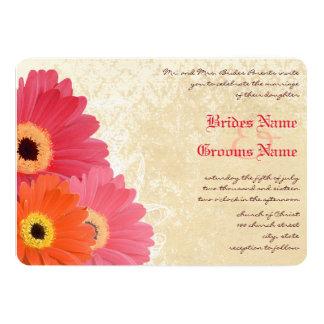 Faire-part de mariage rose orange de corail de