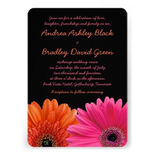Faire-part de mariage rose orange de noir de margu