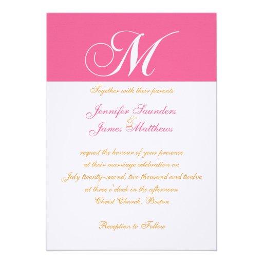 Faire-part de mariage rose orange élégant du monog