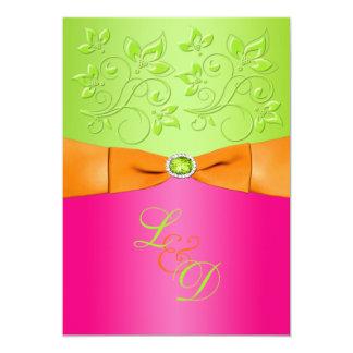 Faire-part de mariage rose, orange, vert de