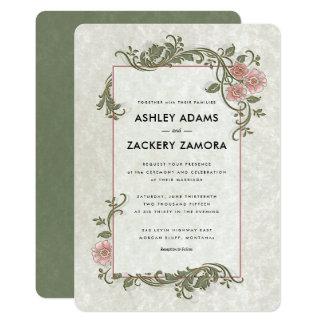 Faire-part de mariage rose/vert fleuri de rouleau