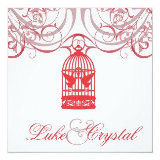 Faire-part de mariage rouge avec du charme de cage