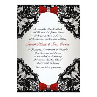 Faire-part de mariage rouge, blanc et noir de