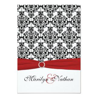Faire-part de mariage rouge, blanc et noir de la carton d'invitation  12,7 cm x 17,78 cm