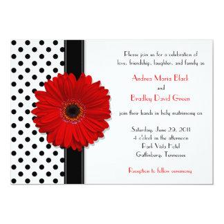 Faire-part de mariage rouge blanc noir de carton d'invitation  12,7 cm x 17,78 cm