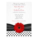 Faire-part de mariage rouge blanc noir de margueri