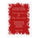 Faire-part de mariage rouge de flocons de neige