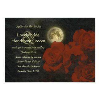 Faire-part de mariage rouge de roses de fantôme de