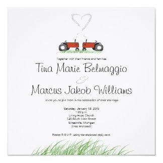 Faire-part de mariage rouge de tracteur