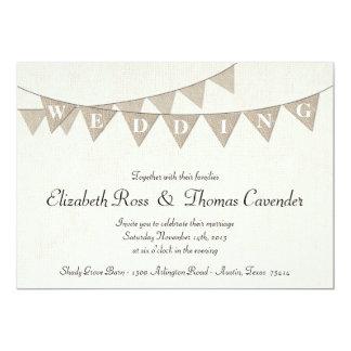 Faire-part de mariage rustique de fanion de toile carton d'invitation  12,7 cm x 17,78 cm