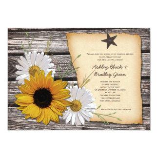 Faire-part de mariage rustique de marguerite de carton d'invitation  12,7 cm x 17,78 cm