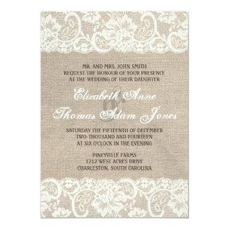Faire-part de mariage rustique de toile de jute de carton d'invitation  12,7 cm x 17,78 cm
