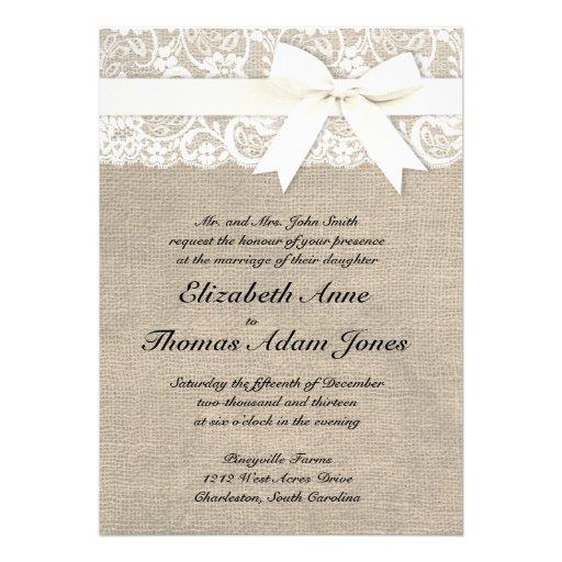 faire part de mariage rustique de toile de jute de carton d 39 invitation 12 7 cm x 17 78 cm zazzle. Black Bedroom Furniture Sets. Home Design Ideas