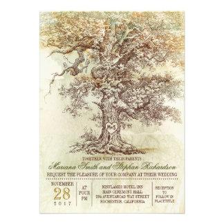 Faire-part de mariage rustique de vieil arbre vint