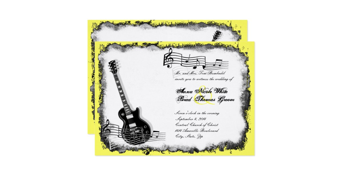 faire part de mariage sauvage de musique de jaune zazzle. Black Bedroom Furniture Sets. Home Design Ideas